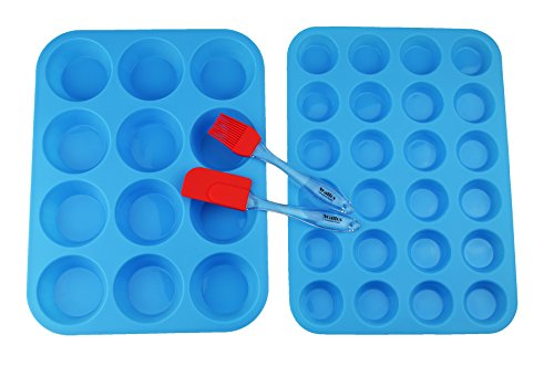 Walfos Reusable Top Silicone Muffin & Cupcake Baking Pan Set (Large 12 & Mini 24 Cup Sizes) / Non Stick cake molds / Dishwasher - Microwave Safe (Blue)