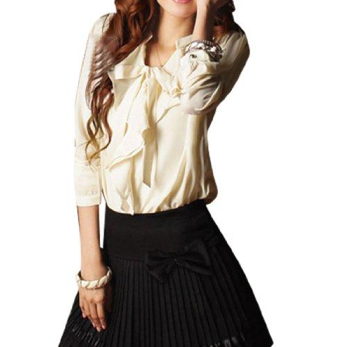 Lady Self Tie String Front Long Sleeve Semi Sheer
