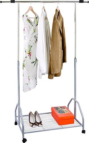 Oramics - Portant à vêtements avec roulettes - Longueur et largeur réglables - Avec ou sans étagère pour chaussures (Avec étagère à chaussures)