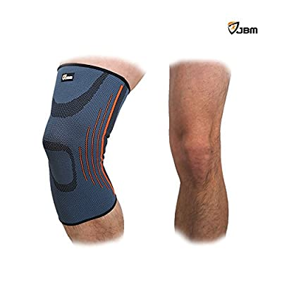 JBM Adult GYM Knee Brace Support Compression Sleeve Patella Wrap Band Knee Stabilizer Safe Durable Comfortable Elastic Adjustable Pain Relief for Weightlifting Power Lifting Fitness Exercise Football