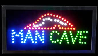 man cave led light up sign 19 5 x10 for party room bar game room basement mancave. Black Bedroom Furniture Sets. Home Design Ideas