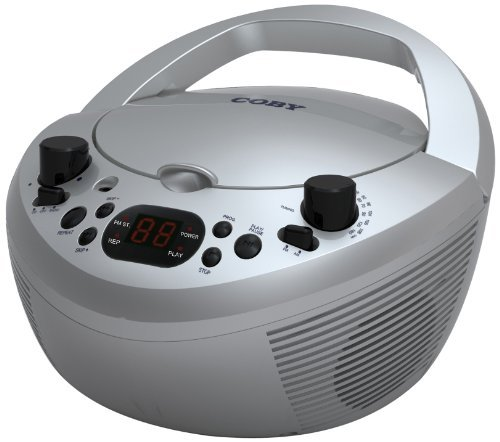 Coby CXDC251SVR Portable CD Player with AM/FM Radio, Silver
