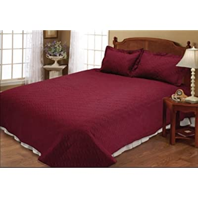 7 Pieces Burgundy With Gold Rose Flocking