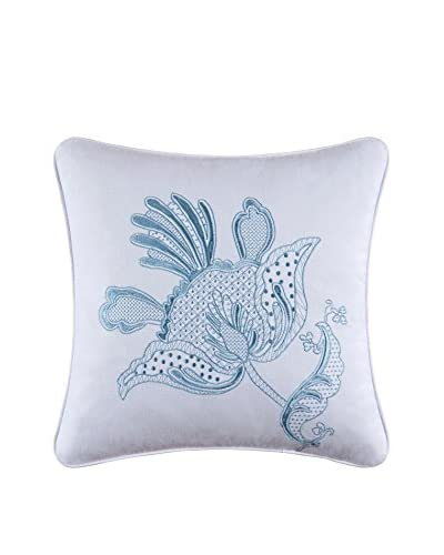 Eliza Lace Embroidered Flower Pillow, Blue/White