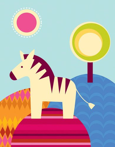 Oopsy daisy, Fine Art for Kids Zebra Days Stretched Canvas Art by Clare Birtwistle, 14 by 18-Inch