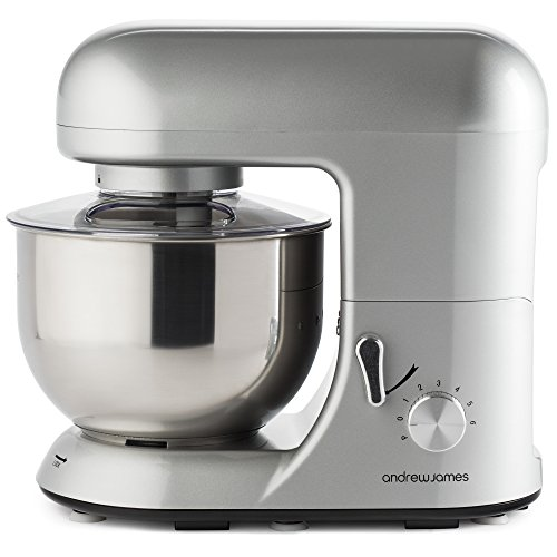 Andrew James 1300 Watt Electric Food Stand Mixer In Stunning Silver, Includes 2 Year Warranty, Splash Guard, 5.2...