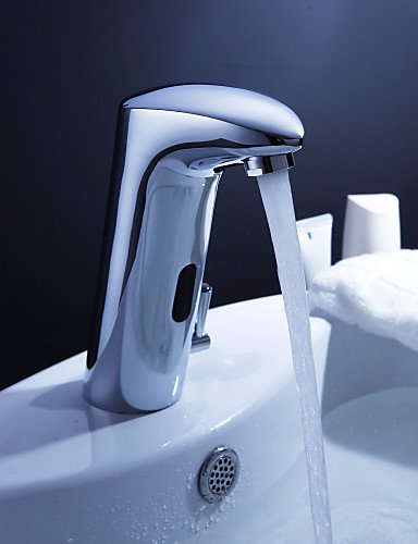 Brass bathroom sink faucet with automatic sensor and pop up waste ameliewebsterzeem for Automatic bathroom sink faucets