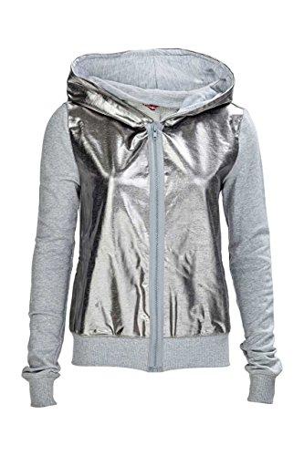 fiorucci-gilets-sweats-veste-sweat-a-capuche-silver-femme-couleur-argente-taille-xxs