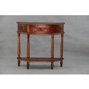 International Caravan Carved Wood Half Moon Console Table - 3867