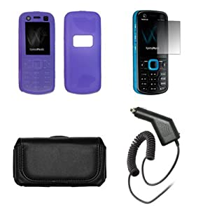 Nokia Xpressmusic 5320 Black Leather Carrying Pouch+ Purple Soft Silicone Skin Case Cover+Premuim LCD Screen Protetor+Rapid Car Charger+Antenna Booster Combo For Nokia Xpressmusic 5320