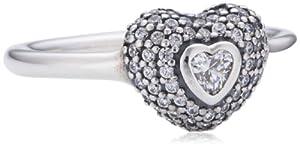 Pandora Damen-Ring 925 Sterling Silber mit Zirkonia-Herz Gr. 56 (17.8) 190877CZ-56
