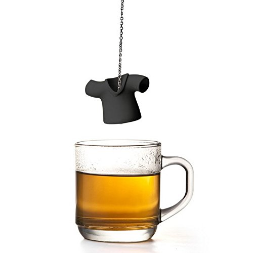 Cool Tea Infuser Tea Shirt by Qualy Design Studio. Black Color. Unique Tea Ball will Make Great Gift for Tea Lovers. Loose Tea Strainer - Unusual Housewarming Present. Tea Accessory. (Microwavable Glass Pitcher compare prices)