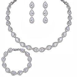 EVER FAITH® Silver-Tone CZ Birthstone Elegant Tear Drop Bridal Necklace Earrings Bracelet Set from EVER FAITH