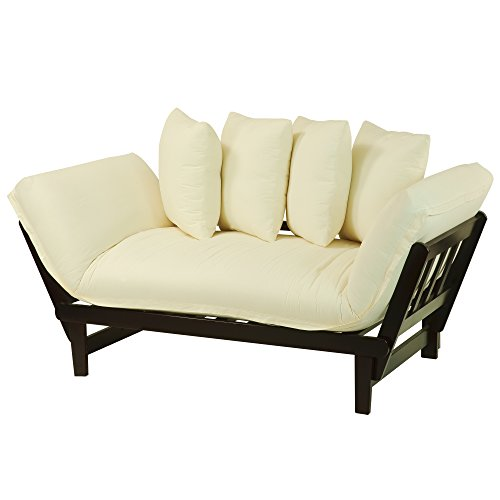 Casual Home Casual Lounger Sofa Bed Fabric Cover, Single, Espresso Frame/Ivory