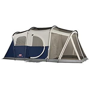Coleman Elite Weathermaster Tent 17'x9' 6 Person Cabin Tent With Led Light System & Screenroom