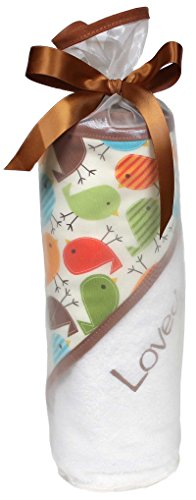 Raindrops Loved Hooded Towel Set, Toffee Birds