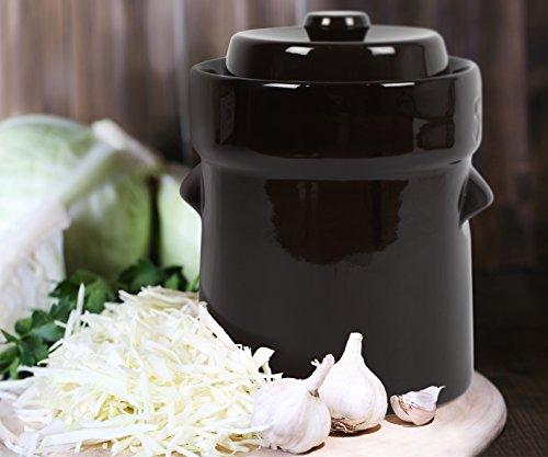 Kenley Fermentation Crock Jar 5 Liter - 1.3 Gallon Fermenting Pickling Pot for Healthy Kimchi Sauerkraut Pickles Fermented Vegetables - Stoneware Ceramic Fermenter Sourdough Kit with Weights & Lid