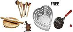 Daily Essential Wooden Kitchen Tool Set WITH FREE 3 PCS HEART SHAPED ALUMINIUM CAKE MOULDS AND MINI SHELL SHAPE EGG FRYPAN