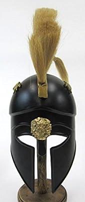 Reproduction Black Greek Corinthian Helmet W/ Plume, Trim - Wearable Armor in Steel