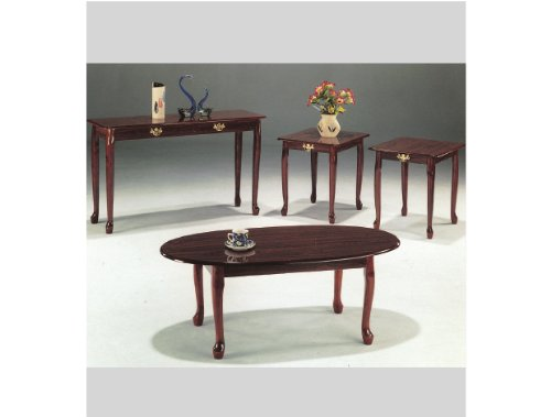 3-Pc Queen Anne Cocktail Table In Cherry Finish Ads4005A-Ch
