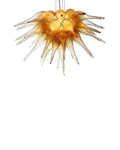 D'fine Lighting Celestial LED Art Glass Chandelier, Amber/Clear