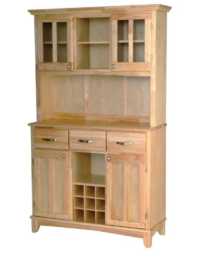 Natural Wood Top on Natural Server and Two Door Hutch by Home Styles - Light Wood (5100-0011-12)