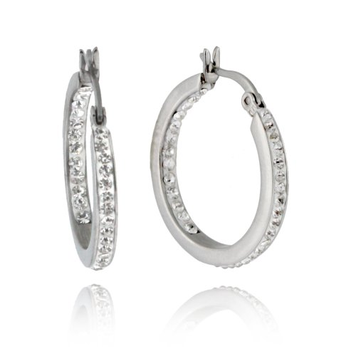 Stainless Steel Hypoallergenic Silver Colored and Crystal Accented Double Sided Inside Out Kelly Hoop Earrings