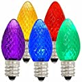 Vickerman 00718 - C7 Candelabra Screw Base Multi-Color LED (25 pack) Christmas Light Bulbs (XLEDC70)