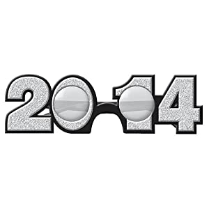 2014 Silver Glitter Glasses New Years Eve Favors