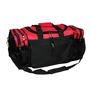 Blank Duffle Bag Sports Duffel Bag in Red and Black Gym Bag