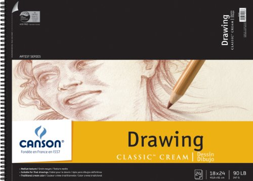 """Pro-Art Canson Classic Cream Drawing Paper Pad 18x24"""": 24 Sheets"""