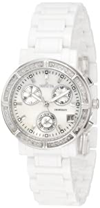 Invicta Women's 0727 Ceramic Chronograph Diamond Accented Mother of Pearl Ceramic Watch