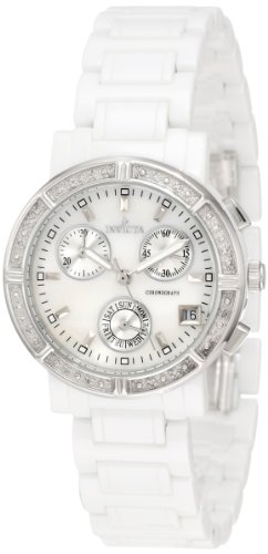 Invicta Women's 0727 Ceramic Chronograph Diamond Accented Mother of Pearl