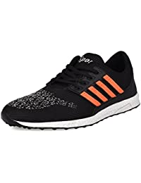 Backmesh Men's Black Orange Casual Mesh Lace Up Sports Shoes