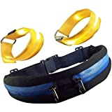 Runner Waist Pack And 2 Reflective LED Arm Bands. Dual, Expandable And Water Resistant Pockets Separate Phone...