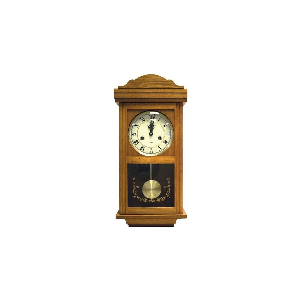Beautiful Kassel 15 Day Wood Wall Pendulum Clock with Glass Front