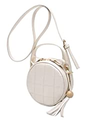 Mei & Ge Women's PU Leather Round Sling Bag / Purse With Adjustable Strap, (M-1231 - Light Peach)