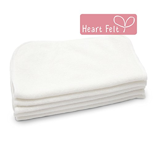 Heart Felt 100% Bamboo Cloth Natural Baby Wipes - 5 Extra-large Reusable Wipes for Wipes, Wash Cloths and Dribble Bibs. Versatile, Soft and Gentle o