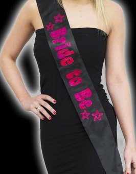 Funcart Black Bride to be sash with hot Pink Foil