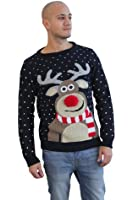 Christmas Novelty Reindeer Fairisle Snowflake Knitted Xmas Jumper Sweater