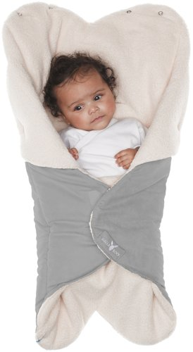 Wallaboo Baby Blanket Cozy Faux Suede with Thick Shearling Lining, Grey