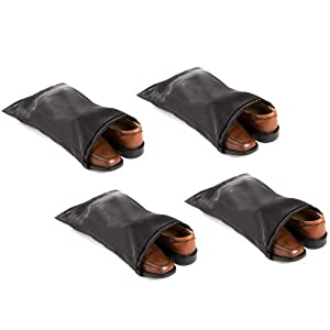 "Travel Shoe Bags 16""x12"" w/ Drawstring (Black) (4-Pack)  Soft Nylon Shoe Tote Bags, suitcase dress travel"
