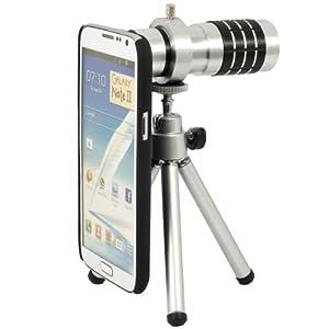 Kit 12x Téléobjectif Zoom optique appareil photo pour téléphone Samsung Galaxy N7100 Note 2 II + trépied mini + coque de protection DC273
