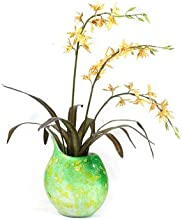 Orchids in Marbled Glass Vase