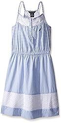 Nautica Girls' Ministripe Dress with Eyelet Inserts, Classic Blue, 2T
