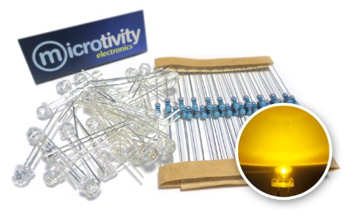 Microtivity Il313 4.8Mm Wide Angle Yellow Straw Hat Led W/ Resistors (Pack Of 30)