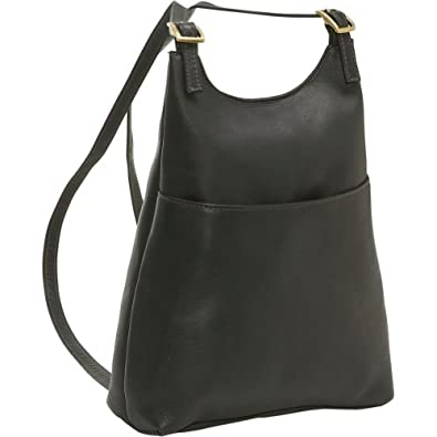 Le Donne Leather Women's Sling BackPack Purse,One Size,Black