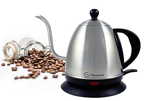Electric Kettle (1.0L) for Pour Over Coffee and Tea - Elementi Stainless Steel Gooseneck Drip Kettle Teapot (Modern Tea Kettle Electric compare prices)