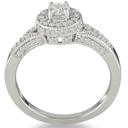 Antique Style 1/2ct Diamond Engagement Wedding Ring in 14k White Gold
