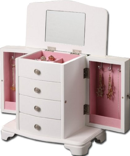Girls White Jewelry Box Pink Interior
